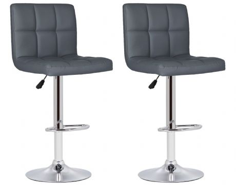 Pair of 2 Milan Grey Faux Leather Padded Seat Bar Stools